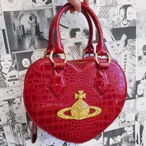 VIVIENNE WESTWOOD RED FAUX LEATHER HEART BAG